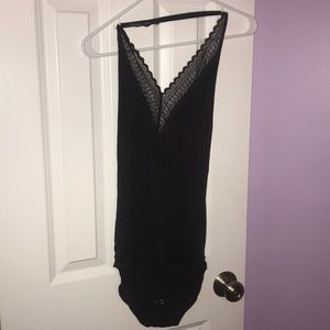 Plunge Bodysuit with lace v neck